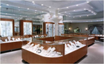 Free standing jewelry display in a jewelry store