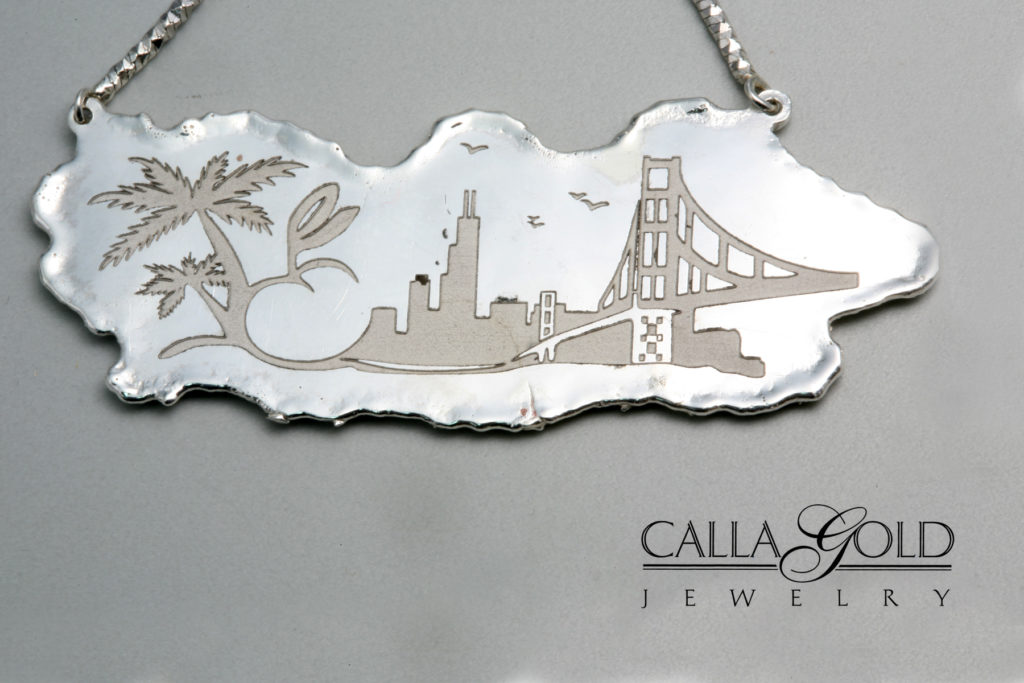 A sterling silver custom necklace molten and laser engraved sterling silver custom necklace aloadofball Gallery