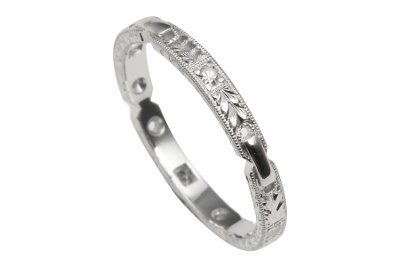 Re-engraving done on tiny band ring