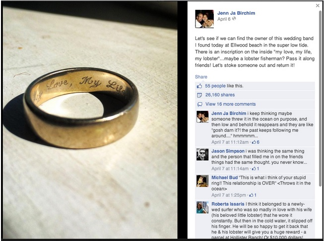 men vs loose wedding rings and a facebook feel good story - Lost Wedding Ring