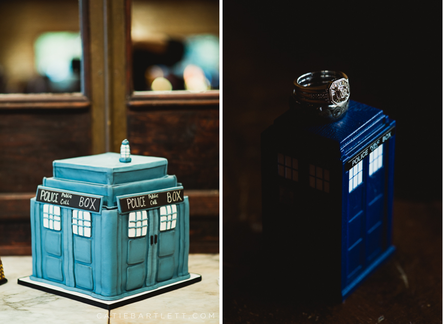 the tardis makes an appearance in jewelry box and cake form - Dr Who Wedding Ring