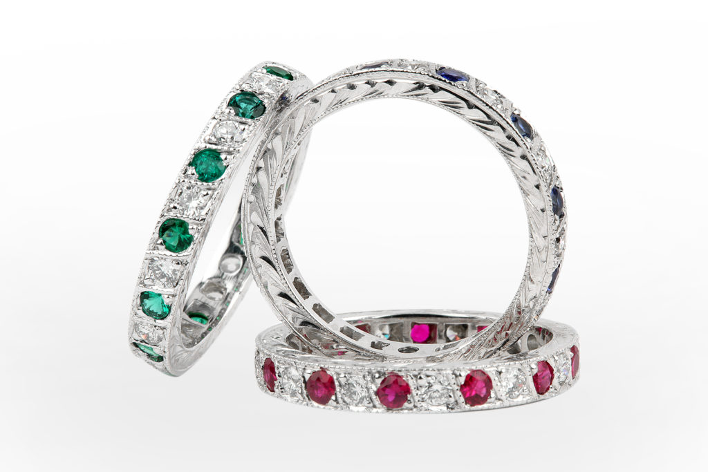 Eternity Bands Custom Made Rings Pairing Diamonds With Rubies Sapphires And Emeralds Any Of These Can Be Sized