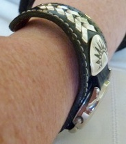 Cheryl's Leather Watchband Cuff with Silver Details