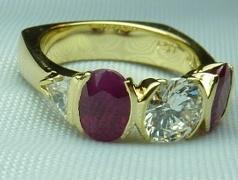 Square shank ruby and diamond ring. Helps prevent ring from turning.