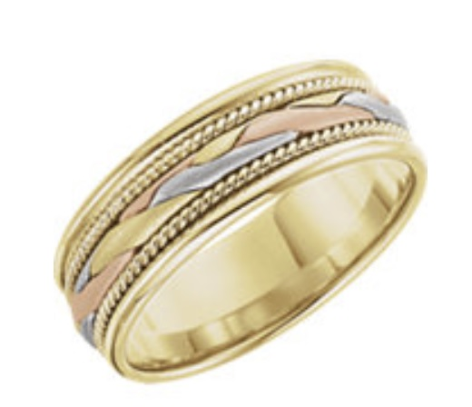 Tri color gold band