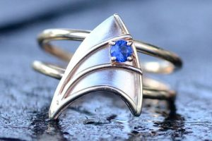 Star Trek Inspired 14K Yellow and White Gold Engagement Ring with Blue Sapphire by VaLaJewellery