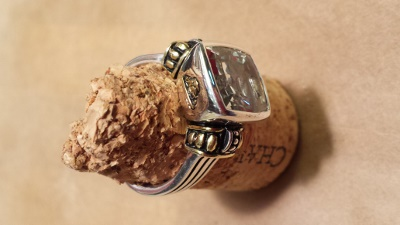 Sizing This Beautifully Detailed Silver and Gold White Topaz Ring Also Required Re-Oxidizing