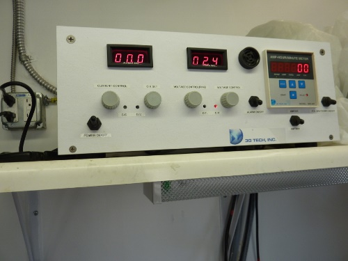 Machine tracking temperature of gold plating tanks