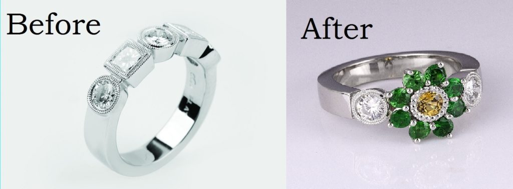 redesign platinum rings rubover how recycle into remodel engagement set remodelled blog carved your jewellery redesigned to old rose ring faq stone gold remodelling recycling
