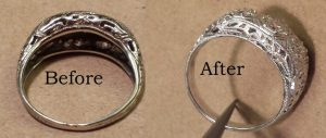 Karen Called me to Size Her Ring. She Knew it Wasn't Dazzling in its Current Look So We Did a Revitalization and Check it Out.