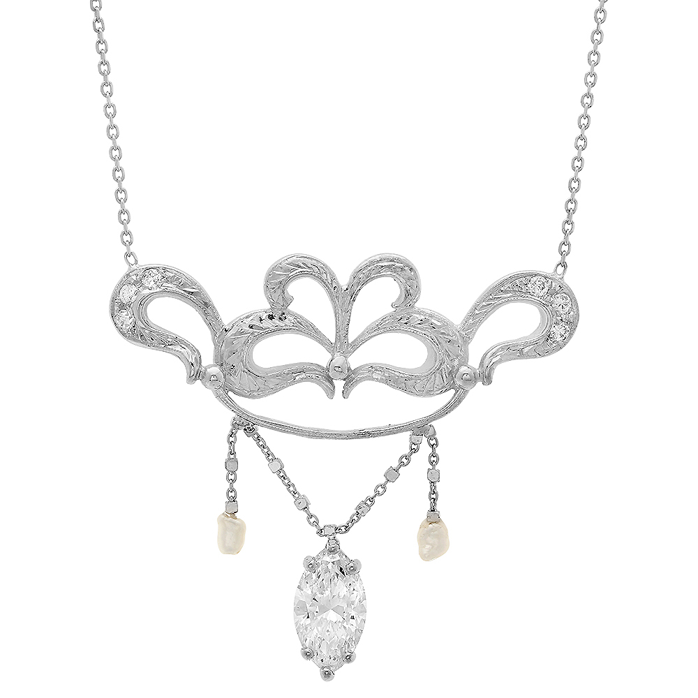 Lauren's Vintage Style Marquis Diamond Necklace