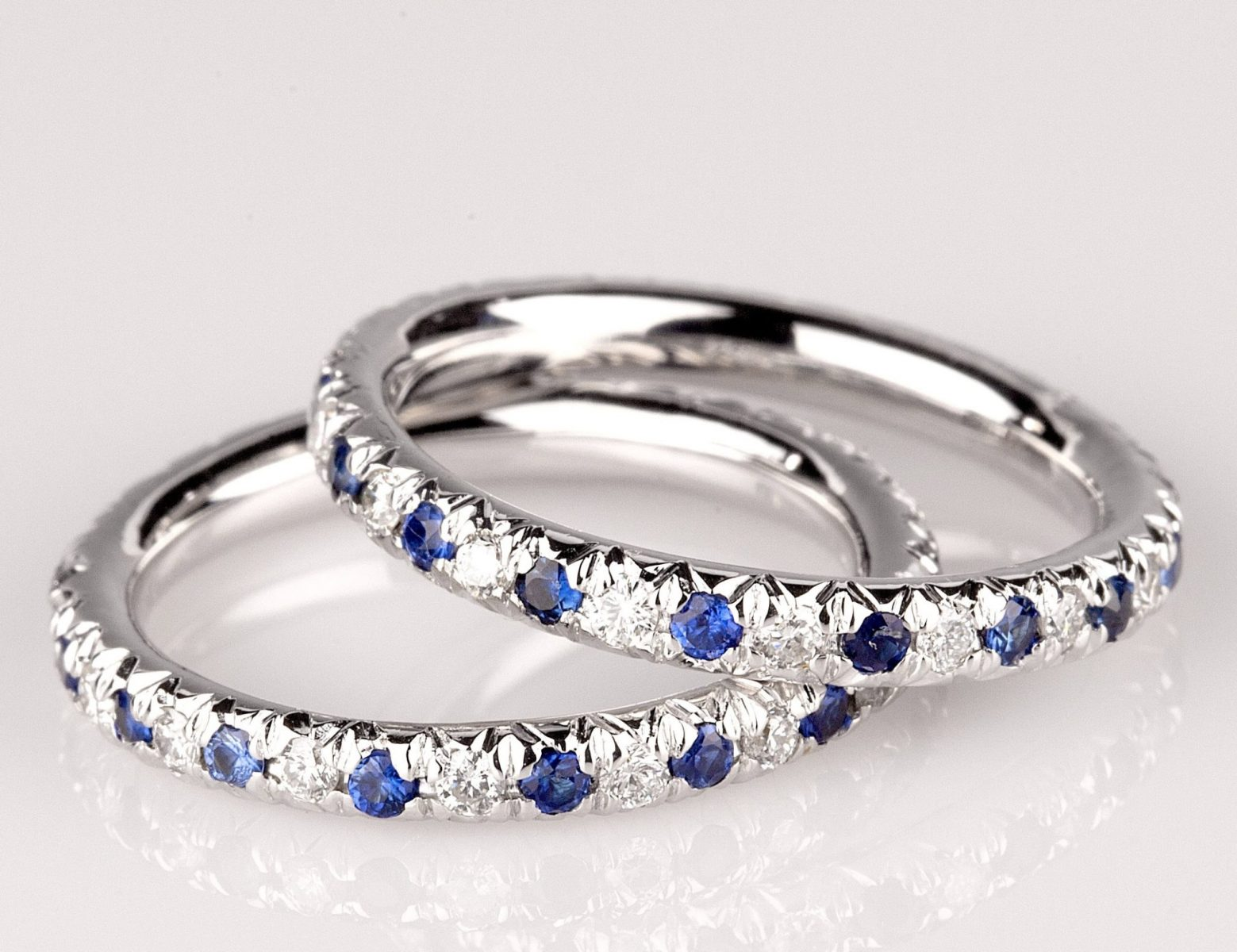 and strand pointe products pave stone eternity bands band ring sapphire stacking rainbow a onbody
