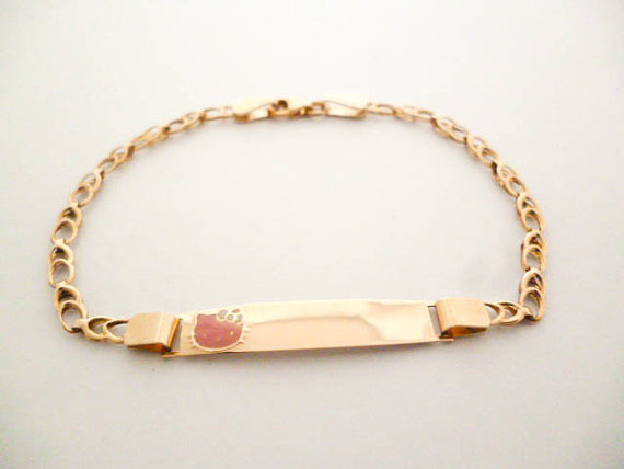 Enamel 9k Yellow Gold Baby Gift Id Handmade Hello Kitty Kids Bracelet