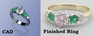 Ring CAD and Finished emerald and diamond ring