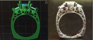Ring CAD and Finished diamond ring