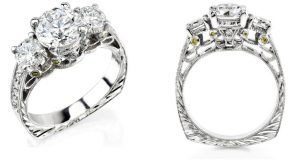 Two views of Calla Gold Jewelry's Trinity Ring