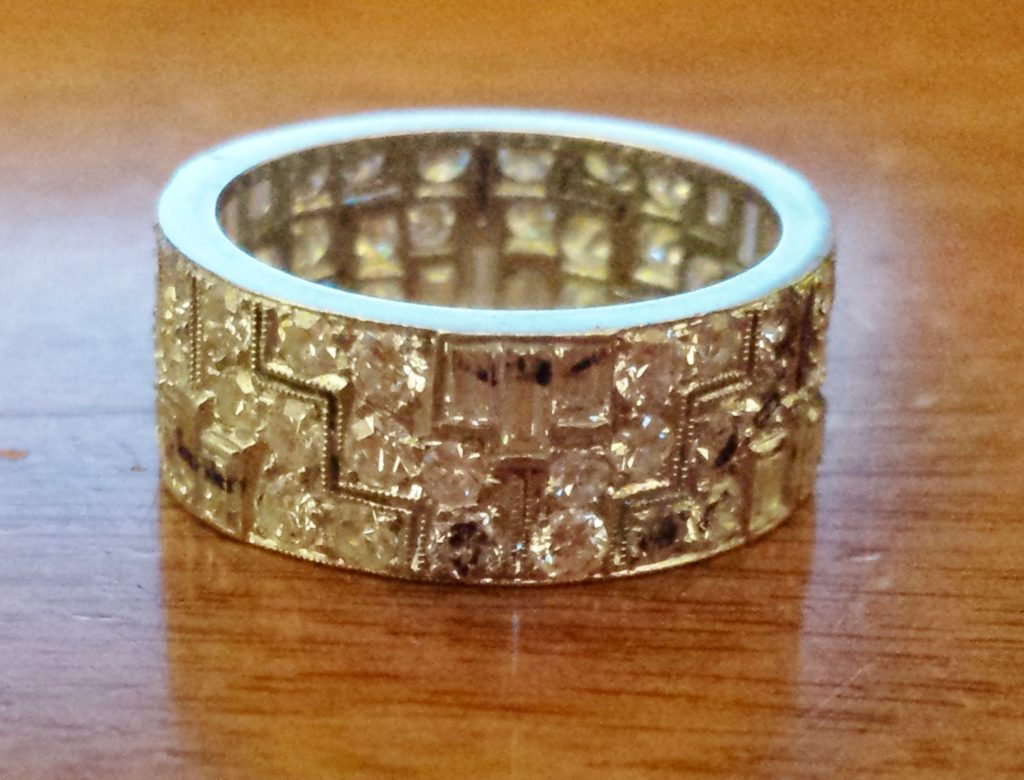 Intricate vintage diamond eternity band, part way through redesign