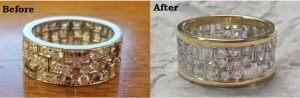 Before and after of diamond ring redesign