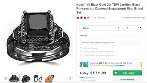 """Don't Let the """"Black Gold"""" Advertisement Fool You -- This """"Black Gold"""" Ring Has Been Plated With Black Rhodium."""