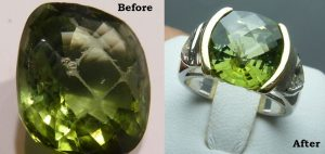 Tsavorite gemstone, scratched and after polishing