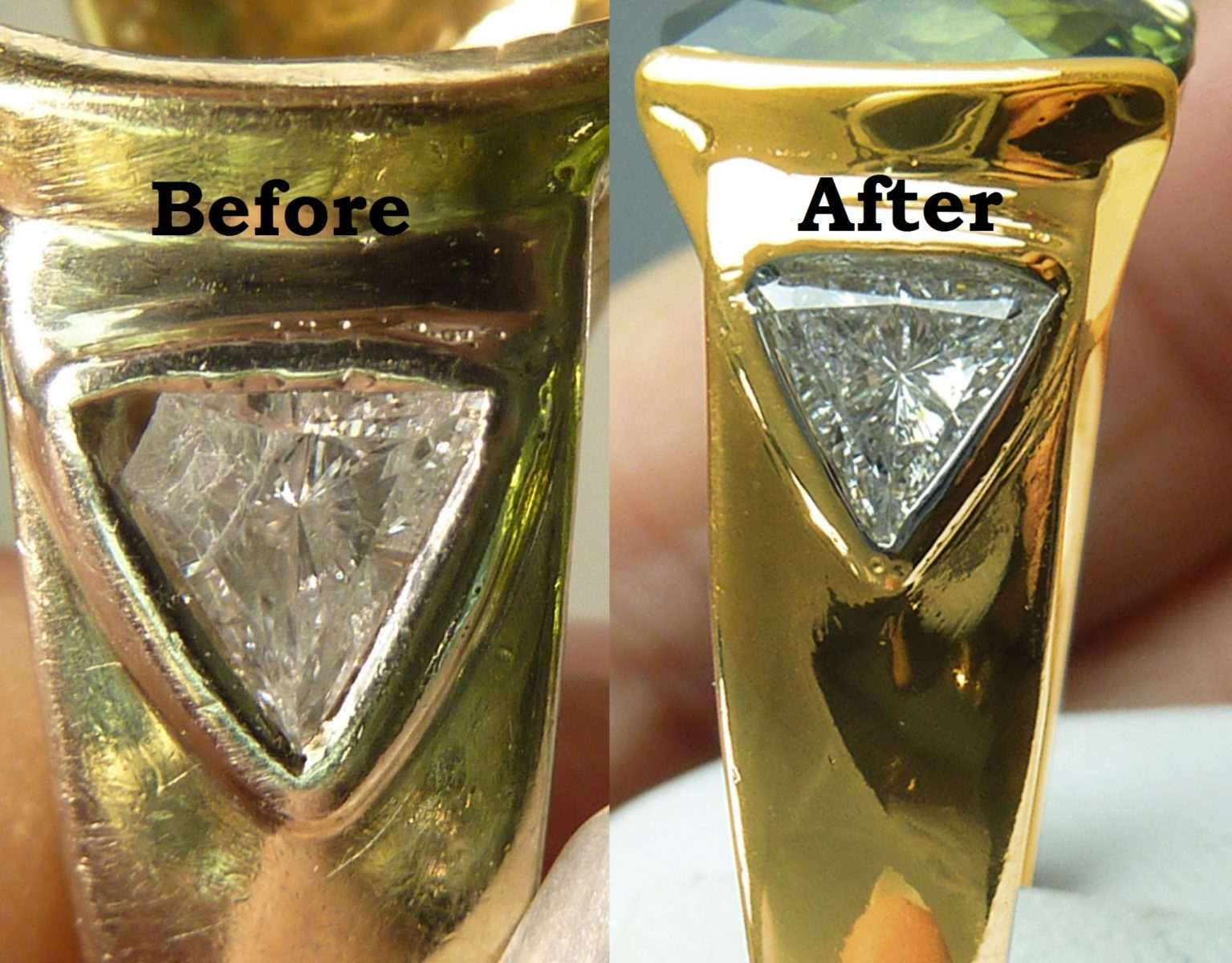 Broken Diamond before and after repair