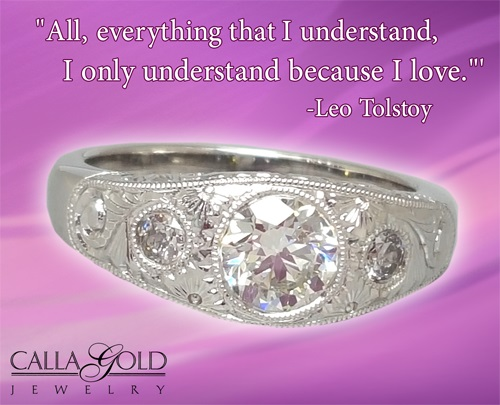 Gems of Wisdom White Gold Ring and Leo Tolstoy
