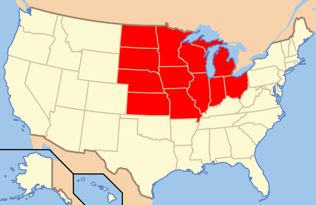 Map of US Midwest
