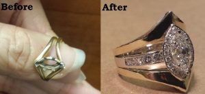 little diamond ring before and after repair