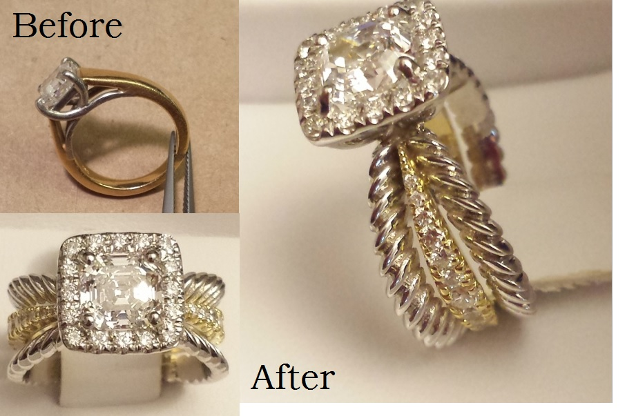Remounted wedding diamond in wider ring