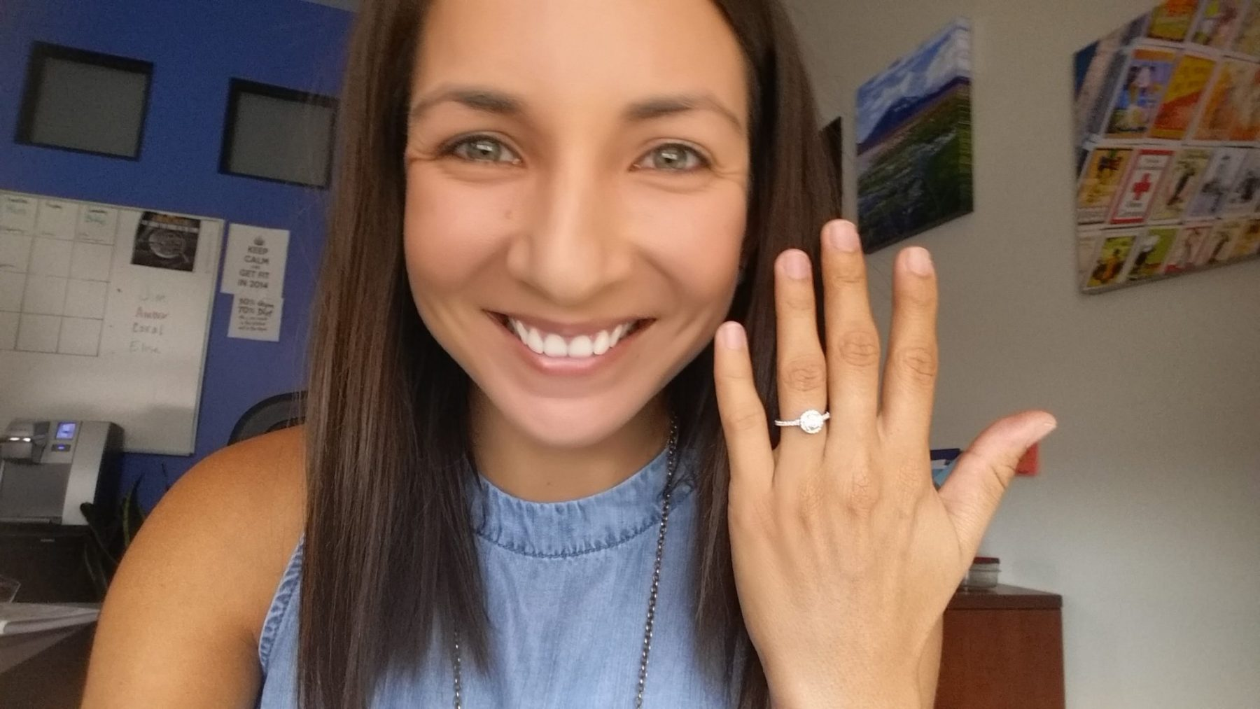 pretty girl with diamond engagement ring