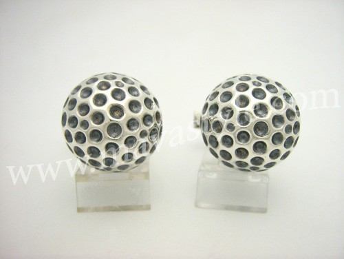 Sterling Silver Golf Ball Cuff Links