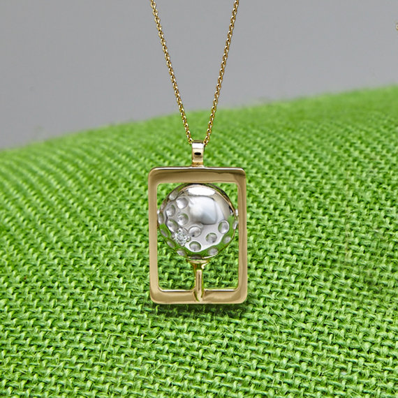 Tea Off Golf Ball Pendant 14k white gold
