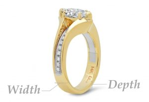 diagram of width vs depth on a ring for your finger