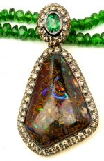 Brown opal champagne diamond necklace