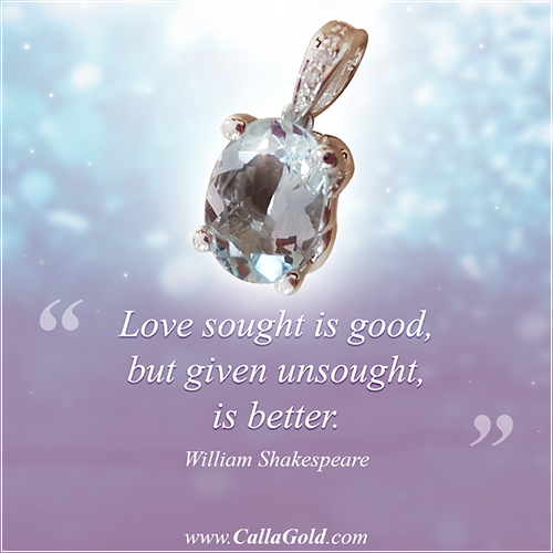William Shakespeare and an Aquamarine diamond from Calla Gold Jewelry