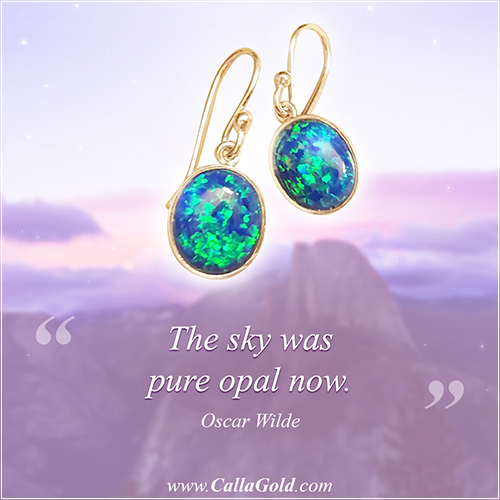 """""""The sky was pure opal now."""" Oscar Wilde and Opal in 18kt gold bezel setting"""