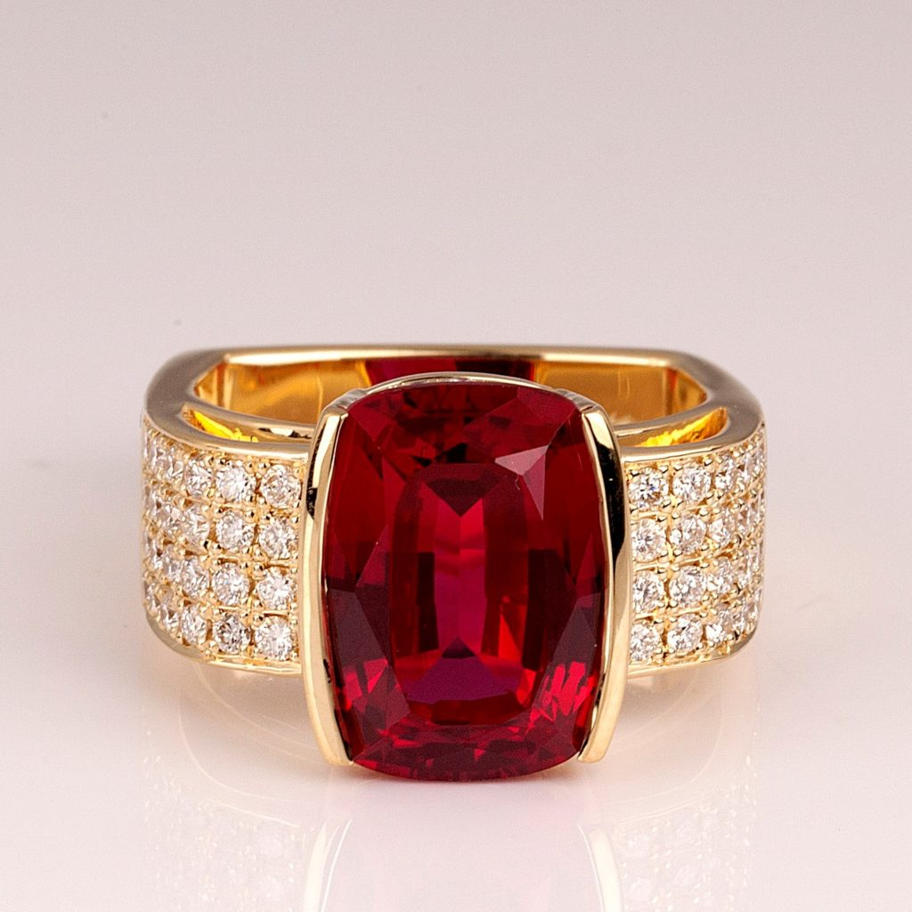 Ruby and Diamond large ladies ring