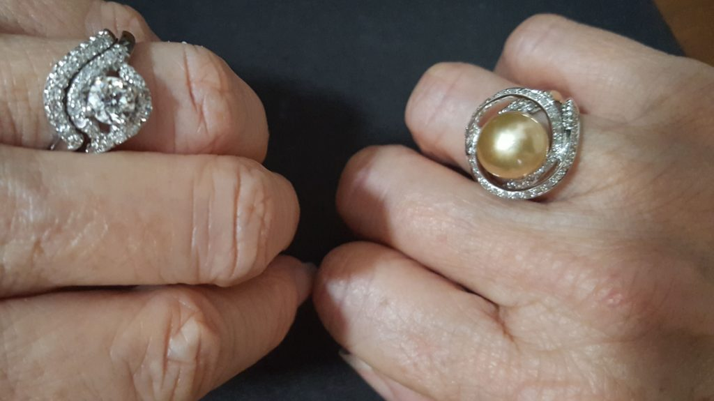 Vintage Wedding Set On The Left Pairs Well With Modern Golden Pearl Ring