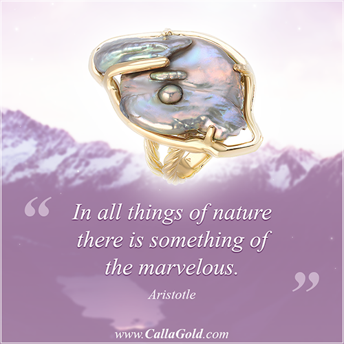 "Aristotle ""In all things of nature there is something of the marvelous."" Fresh water pearl ring"