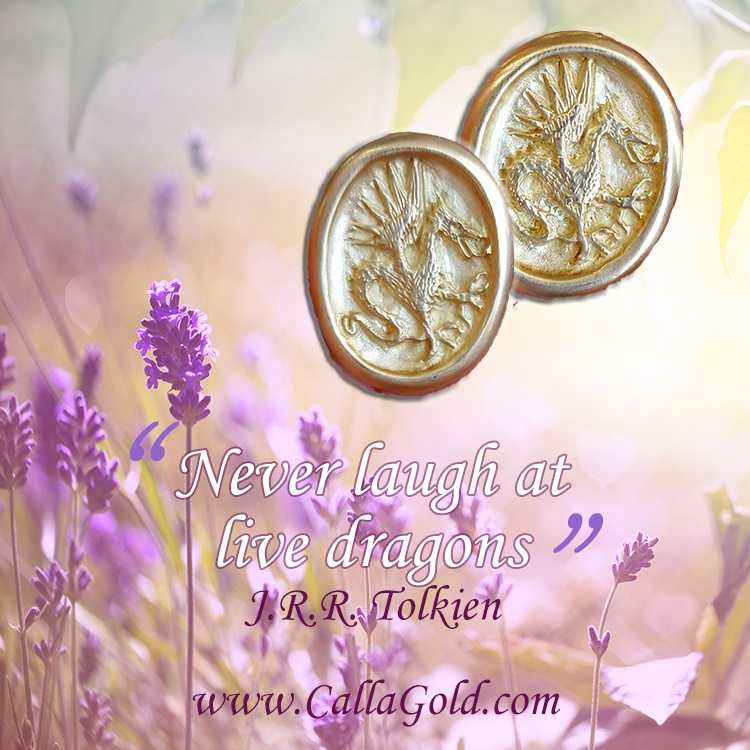 Never laugh at live dragons, J. R. R. Tolkien and Dragon Earrings in 18kt gold