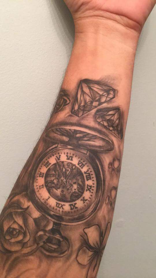 Timepiece tat on lower arm