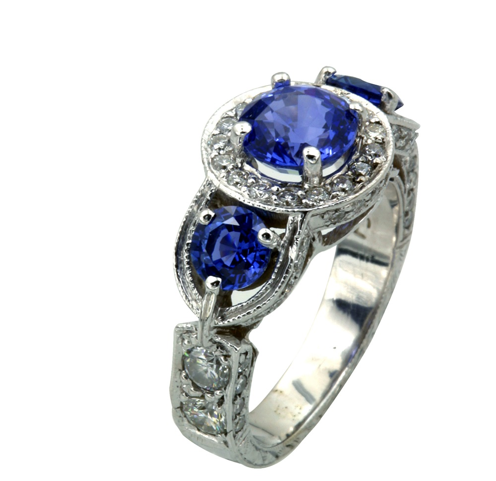 Vintage-style-blue-sapphire-and-diamond-engagement-ring