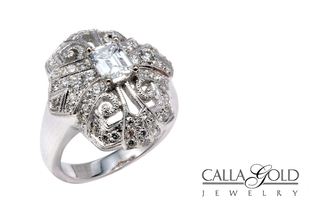 Estate ring with all diamond and milgrain engraving