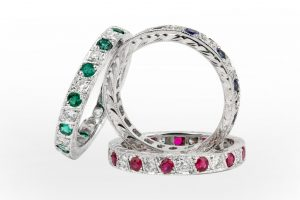 eternity-bands|Ruby and Diamond, emerald and diamond and sapphire and diamonds