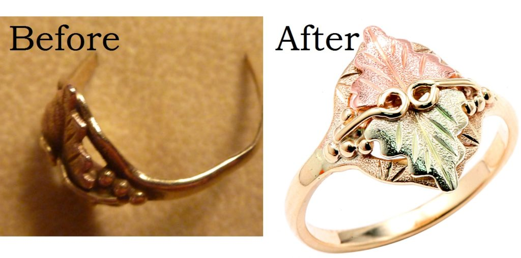 before and after picture for re-shanking your ring