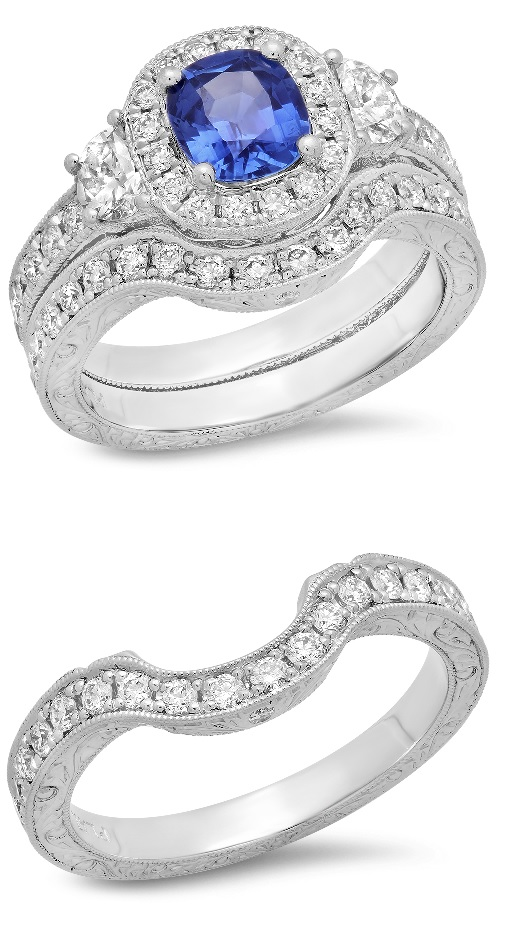 wedding set with contoured wedding band