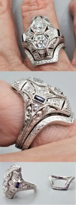 contoured wedding band for vintage engagement ring