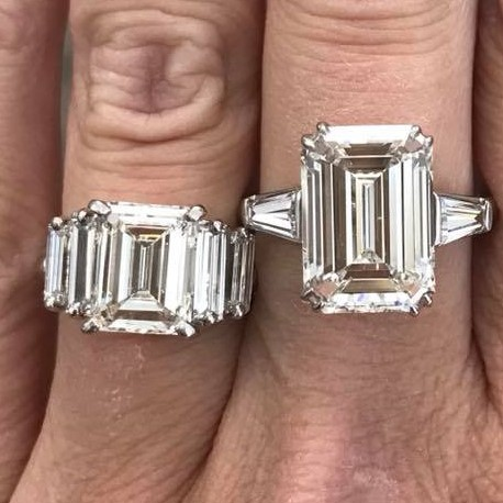 Emerald cut diamond rings with baguette diamonds flanking them