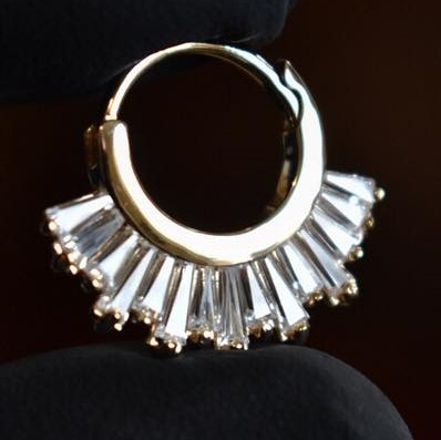 Baguettes on small hoop earring