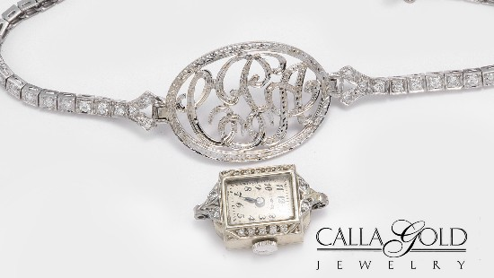 White gold monogram bracelet made from watch